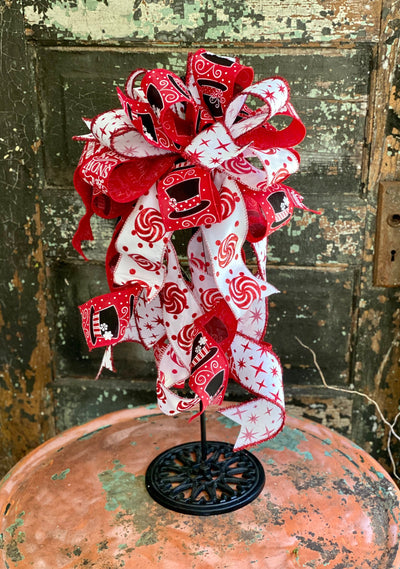 The Frosty Red & White Christmas Tree Topper Bow~Farmhouse bow for wreaths~Snowman hat bow for lantern~holiday bow~xmas bow~large Bow