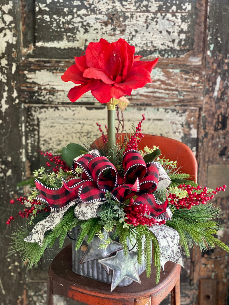 The Alma Red Amaryllis & Pine Christmas Centerpiece For Dining Table, winter decor, gift for her, holiday decor, christmas pine
