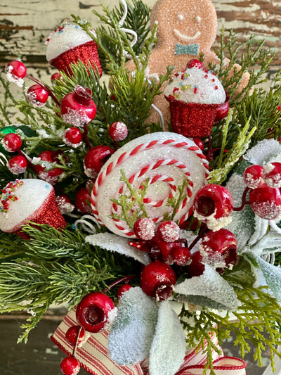 The Ginger Red & White whimsical Farmhouse Christmas Centerpiece For Table,winter pine red berry arrangement for kitchen~Pitcher centerpiece