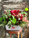 The Nicole Red Cardinal Rustic Christmas Centerpiece For Dining Table~farmhouse winter pine arrangement~Red berry arrangement for kitchen