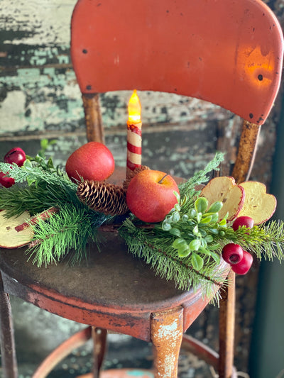 Dried Look Apple Slices With Mixed Pine & Berry Spray, Silk flower stem, Christmas artificial flower stem, craft supply, artificial fruit