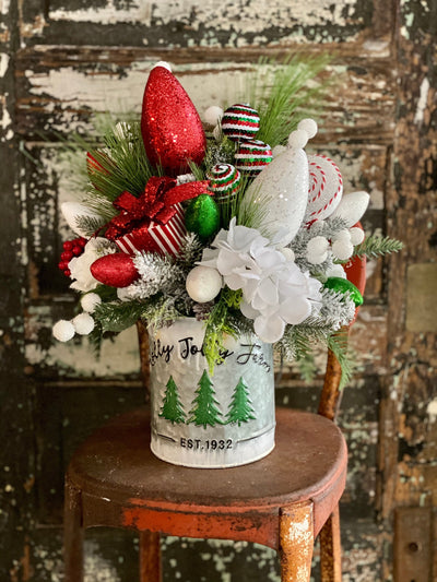 The Rae Red White & Green Christmas Centerpiece For Dining Table~Holiday centerpiece for kitchen table~pine Christmas light arrangement