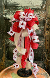 The Brooke Red White & Tan Christmas Tree Topper Bow~Bow for wreaths and lanterns~Xmas Bow buffalo check~Swag Bow~Farmhouse ChristmasDecor