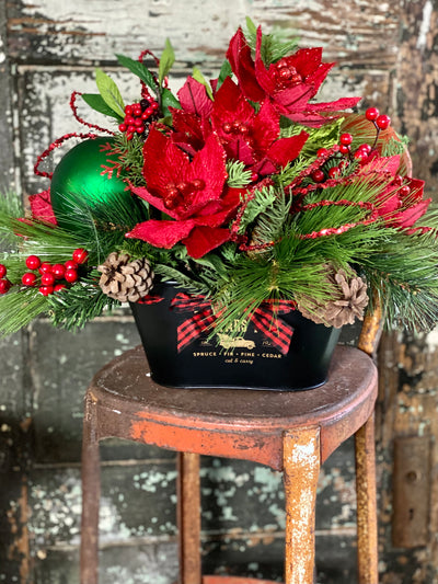 The Tia Red & Black Poinsettia Christmas Centerpiece For Dining Table~farmhouse Xmas arrangement~Holiday arrangement for kitchen table