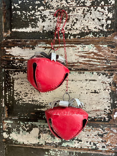 Vintage Style Red Metal Sleigh Bell~Farmhouse Christmas decor~Large Jingle Bells, Sleigh bells, cottage decor, hanging bell