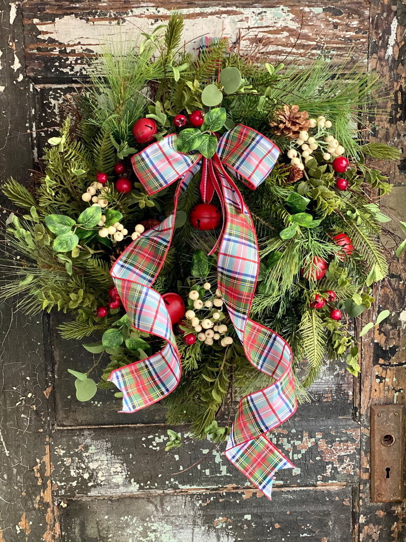 The Maribelle Winter Rustic Red & White Evergreen Christmas Wreath For Front Door~Farmhouse Pine berry jingle bell wreath~tartan plaid Xmas