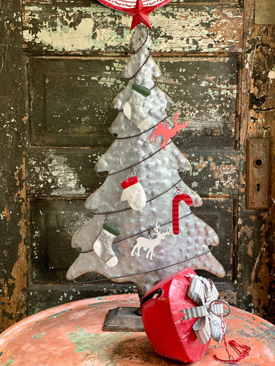 Farmhouse Galvanized Metal Tabletop Christmas Tree With Colorful Ornaments~farmhouse Christmas decor~Xmas decor~