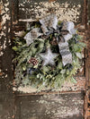 The Irene Winter Woodland Icy Christmas Wreath For Front Door~Farmhouse Eucalyptus & blueberry winter wreath~Xmas wreath silver snowy