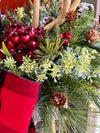 The Jeanette Rustic Lantern Christmas Centerpiece For Dining Table, farmhouse winter pine arrangement~Red berry arrangement for kitchen