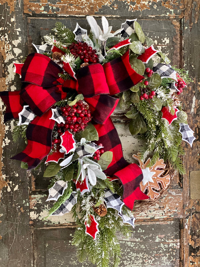 The Anise Winter Rustic Red & White Evergreen Christmas Wreath For Front Door, Farmhouse Buffalo check snowy pine wreath, cabin decor