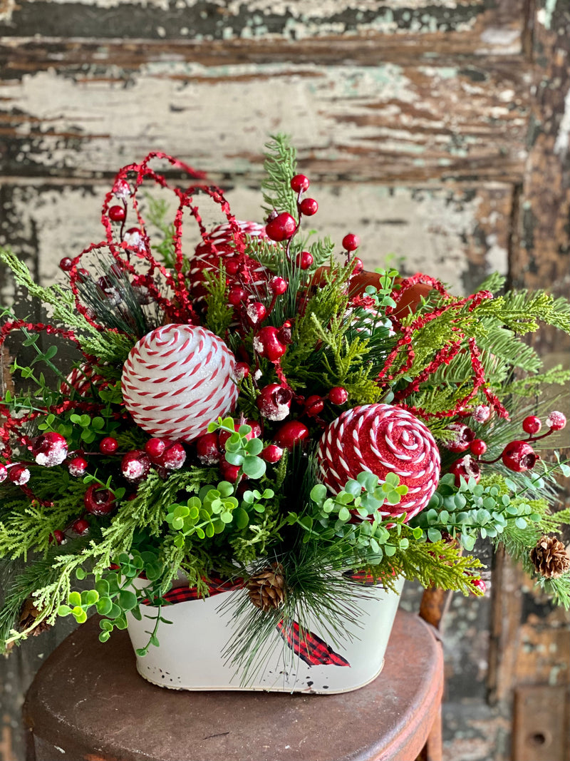 The Gwynn Red & White Christmas Pine Centerpiece For Table, farmhouse winter pine arrangement~Red ornament arrangement for kitchen table