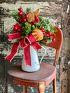 The Ginger Red & White Farmhouse Christmas Centerpiece For Dining Table,winter pine red berry arrangement for kitchen~Pitcher centerpiece