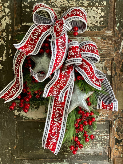 The Star Mixed Pine & Berry Christmas Door Swag, Farmhouse swag for front door, mantle swag, mailbox decoration, farmhouse winter swag