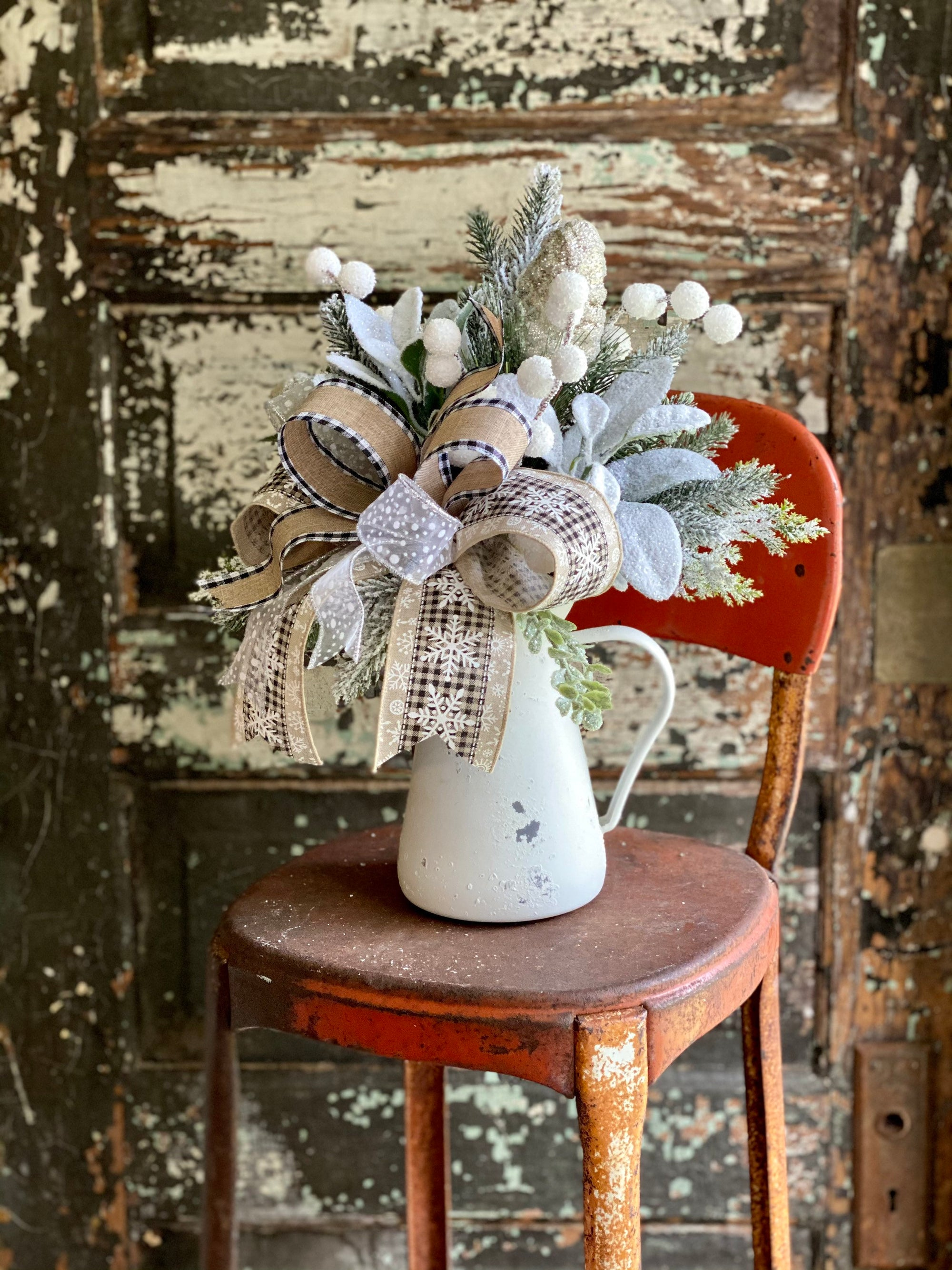 The Greta Black & White Farmhouse Christmas Centerpiece For Dining Table, snowy winter pine arrangement for kitchen~Pitcher centerpiece