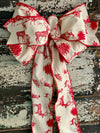 The Temperance Red & Cream Toile Christmas Tree Topper Bow, bow for wreaths, Elegant bow, Lantern bow, Long streamer classic bow