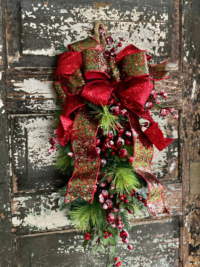 The Ava Red & Green Icy Holly Berry Pine Door Swag, Christmas swag for front door, mantle swag, mailbox decoration, farmhouse winter swag