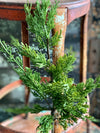 Artificial Cedar Pine Spray, Silk flower stem, Christmas artificial flower stem, craft supply, natural look cedar wreath making supplies