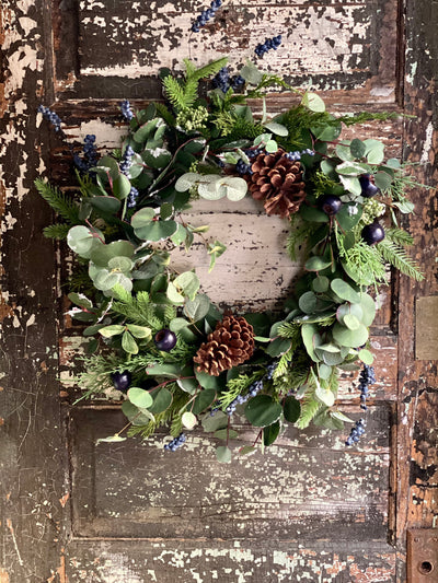 The Jane Winter Blueberry Eucalyptus Cedar Wreath For Front Door, frost Pine Christmas Wreath, French country holiday decor