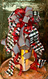The Angel Red Black & White Buffalo Check Cardinal Christmas Tree Topper Bow~Bow for wreaths~Farmhouse winter bow