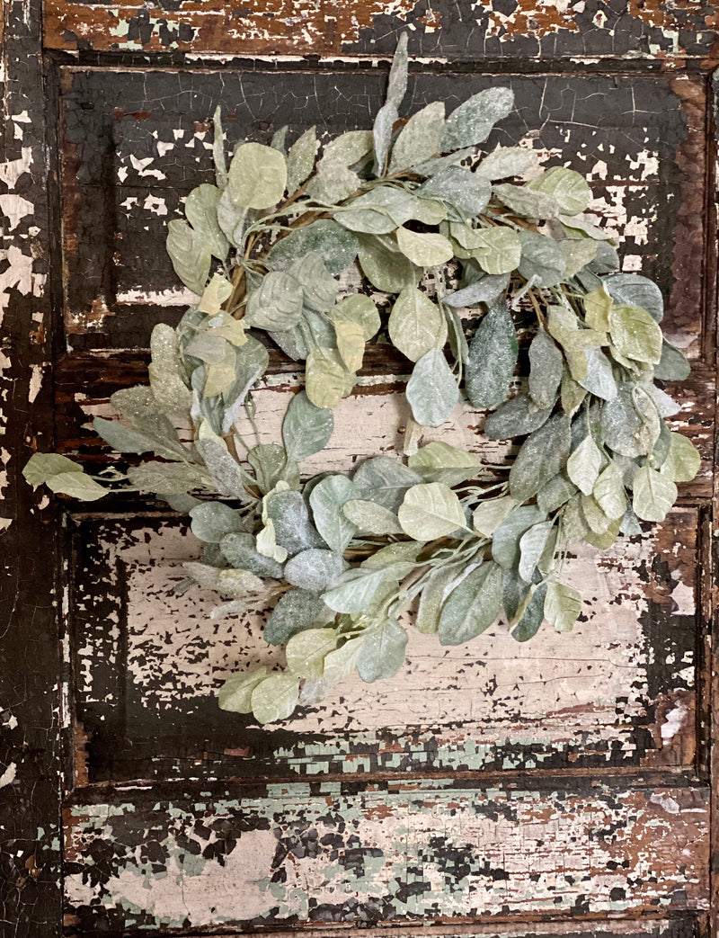 Eucalyptus & Lamb's Ear Flocked Glitter Winter Wreath, Christmas Wreath, Winter wreath, Christmas decor, farmhouse French country cottage