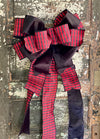 The Linda Red & Black Buffalo Check Lux Christmas Tree Topper Bow~extra large bow for wreath~farmhouse velvet bow~christmas decor