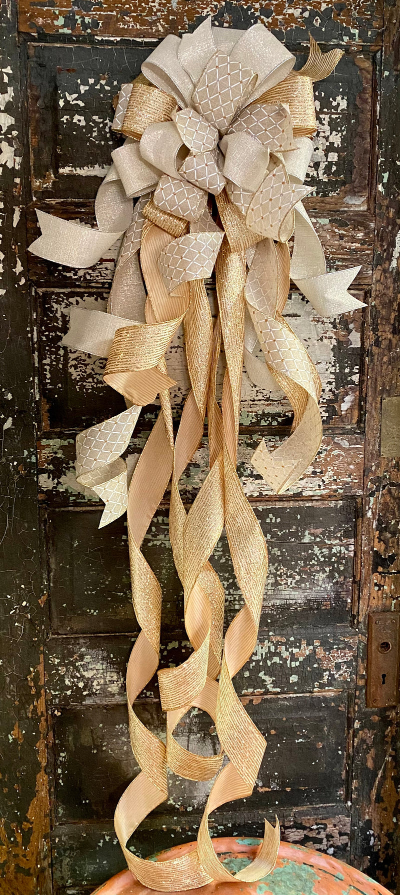 The Blitzen Cream Silver & Gold Christmas Tree Topper Bow~Bow for wreaths~Xmas bow for lantern~large bow~long streamer bow~mailbox decor