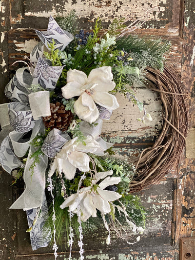 The Colbie White Magnolia & Blueberry Christmas Wreath For Front Door, Farmhouse snow iced winter wreath, silver blue black wreath