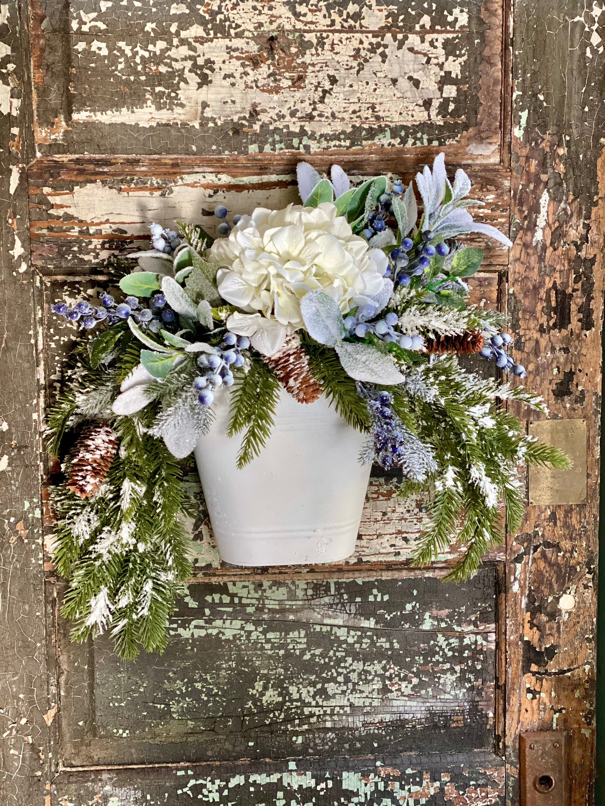 The Briar Blue & White Snowy Evergreen Winter Wreath For Front Door, Farmhouse pine blueberry wall planter~Iced rustic wall pocket wreath