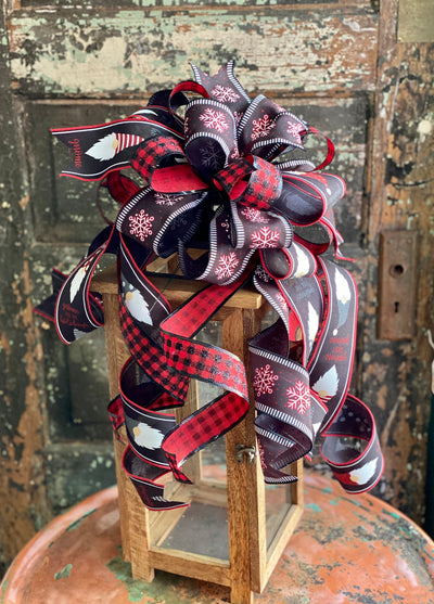The Shae Red Black & White Gnome Christmas Tree Topper Bow, bow for lantern, bow for wreaths, long streamer bow for mailbox, christmas decor