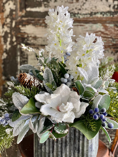 The Cara Blue & White Snowy Evergreen Winter Centerpiece For Dining Table, Farmhouse pine blueberry Hyacinth magnolia~Iced snowy arrangement