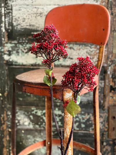Artificial Red Viburnum Berry Flower Stem, Urn filler florals, winter red mini berries, Wreath making supply, floral craft