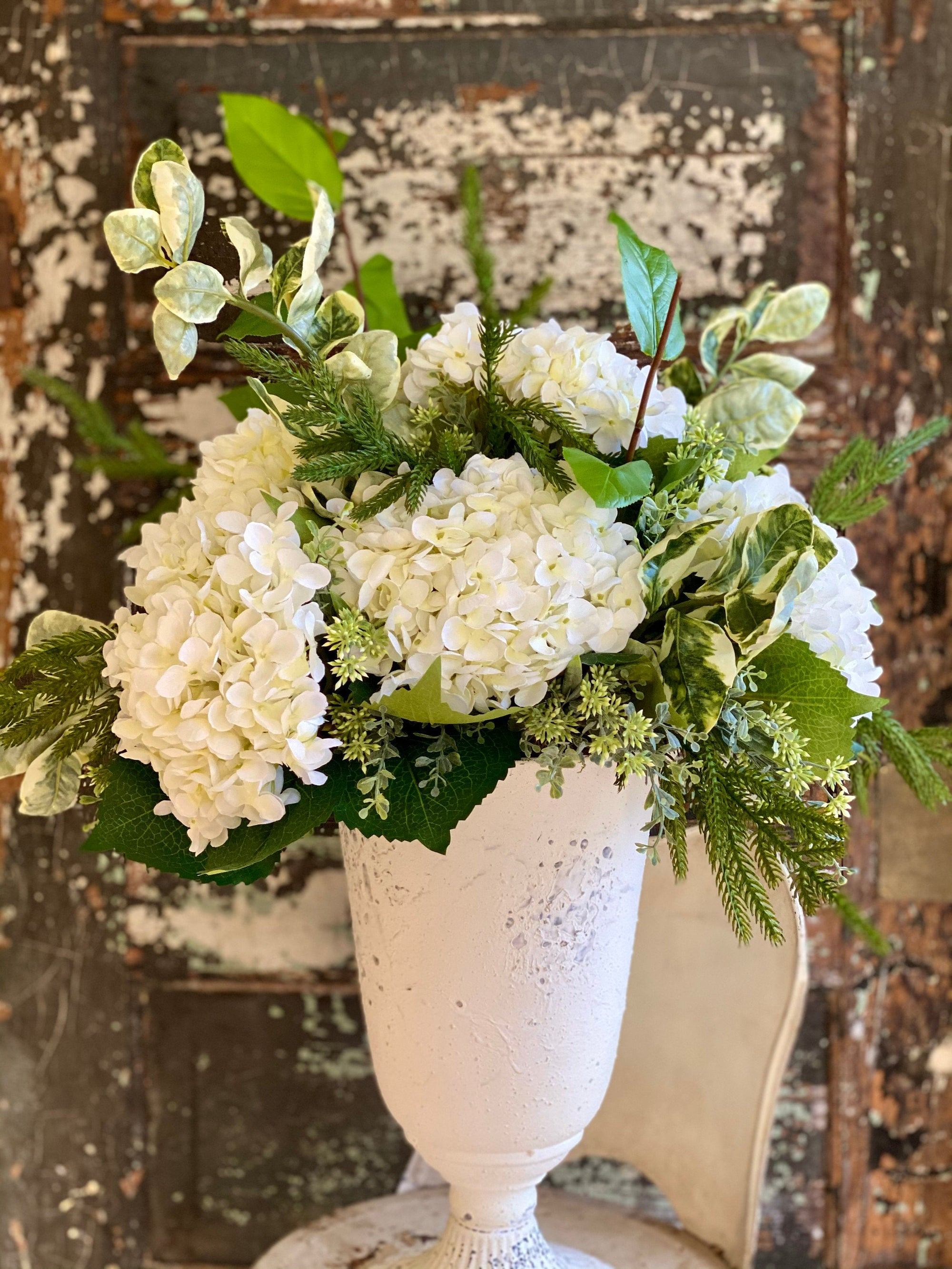 The Athena White Hydrangea & Greens Urn Centerpiece For Dining Table, Shabby Chic arrangement, Wedding centerpiece, Large white  floral
