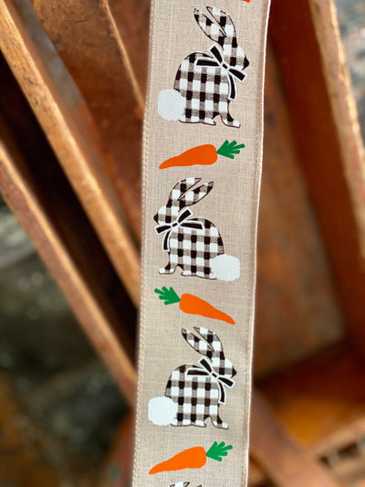"Easter Bunny Buffalo Check Wired Ribbon 2.5"" x 10 YARD ROLL, Easter Ribbon, farmhouse ribbon, Spring ribbon"