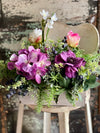 The Tanya Spring Hydrangea Purple Pink & Cream Centerpiece For Dining Table, French country wedding floral,Easter centerpiece