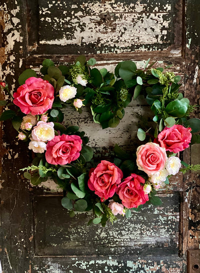 The Cupid Pink & White Valentines Heart Wreath, wreath for  front door, Valentines decor, Victorian floral rose and eucalyptus wreath