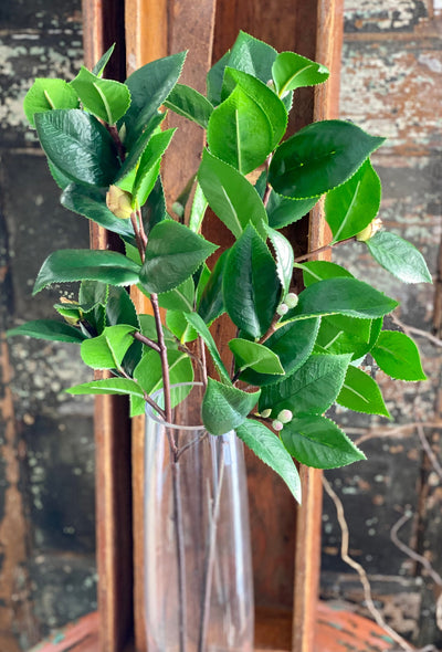 Artificial Real Touch Camillia Branch Greenery Spray, urn filler greenery, spring greenery, wreath making supply, wedding greenery