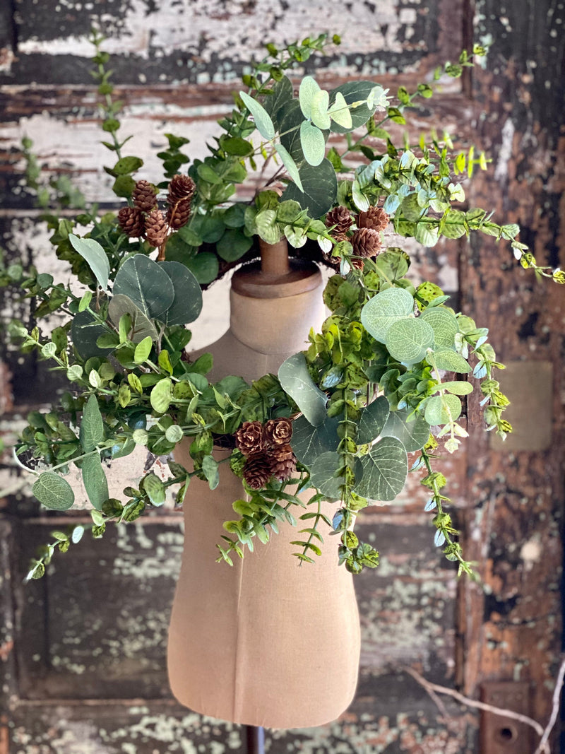 Eucalyptus Candle Ring, Greenery Mini Wreath, Pillar Candle Wreath, Mantle decor, Kitchen island decor, farmhouse year round decor