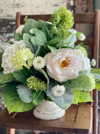 The Allison White Rose Hydrangea Spring Centerpiece For Dining Table, creamy white & green garden centerpiece, Easter decor,mothers day gift