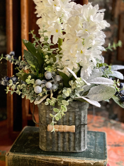 The Pearl Blue & White Snowy Evergreen Winter Centerpiece For Dining Table, Farmhouse blueberry Hyacinth magnolia~Iced snowy arrangement