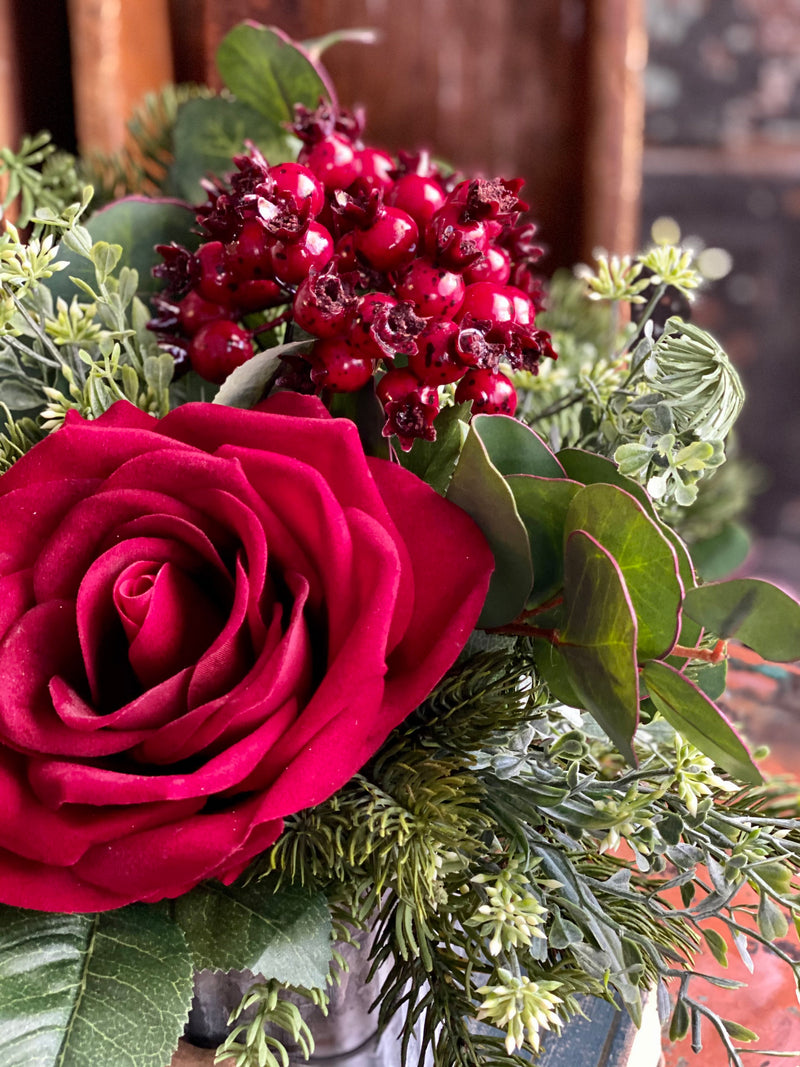 The Jules Red Rose & Evergreen Winter Centerpiece For Dining Table, Farmhouse pine arrangement, year round arrangement