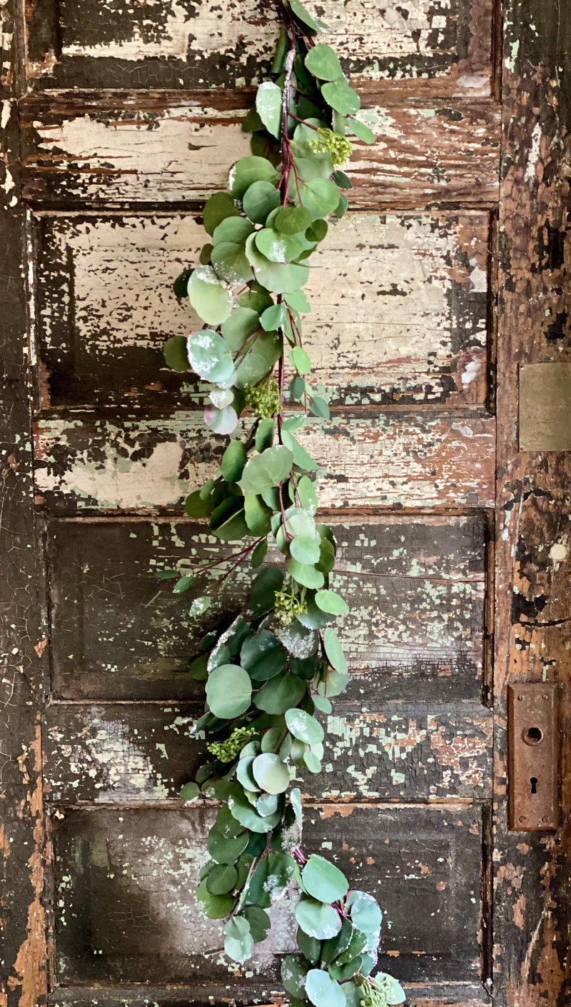 Artificial 4 Foot Eucalyptus Garland, Snow covered winter garland, silver dollar eucalyptus garland~French country garland, winter greenery