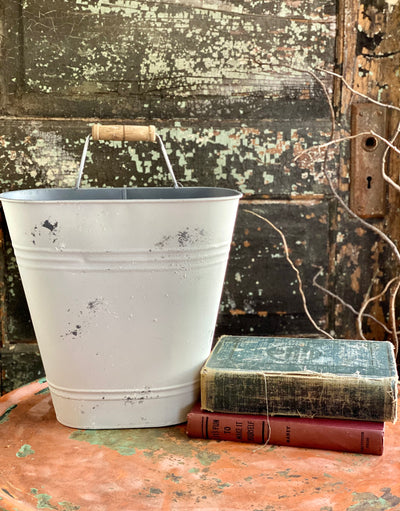 Farmhouse Distressed White Metal Wall Pocket, Rustic hanging planter~fixer upper decor~White bucket planter with handle