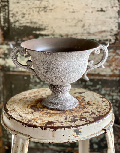 Raised Metal Urn With Handles, Grey white distressed compote, shabby chic textured urn, farmhouse compote for floral arrranging