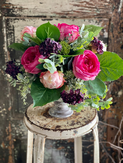 The Grace Pink & Plum Spring Centerpiece For Dining Table, Rose peony easter arrangement, garden centerpiece, mothers day gift
