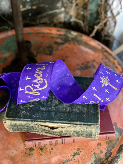 "Purple or White He Is Risen Easter Wired Ribbon 2.5"" x 10 YARD ROLL, Religious Ribbon, Matthew 28:6 Quote Ribbon, Spring ribbon"