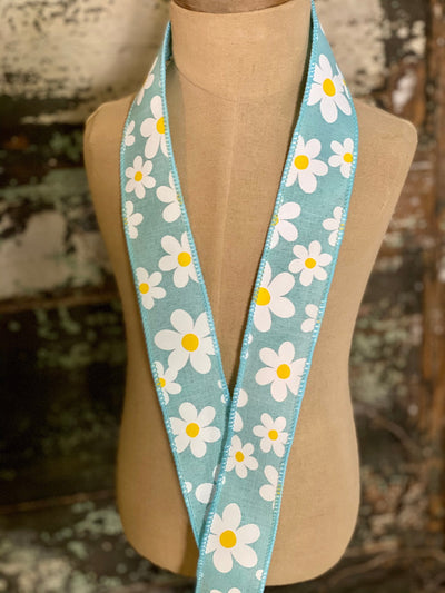 "Daisy Flower Wired Ribbon 1.5"" x 10 YARD ROLL, 3 colors available black blue lavender, Easter Ribbon, farmhouse ribbon, Spring ribbon"
