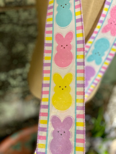"Easter Bunny Multi Color Wired Ribbon 2.5"" x 10 YARD ROLL, Easter Ribbon, Peep bunny rabbit  ribbon, Spring ribbon"
