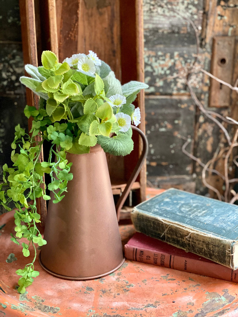 Vintage Style Copper Finish Farmhouse Metal Pitcher, utensil holder, fixer upper decor, cabin decor, French country cottage flower vase