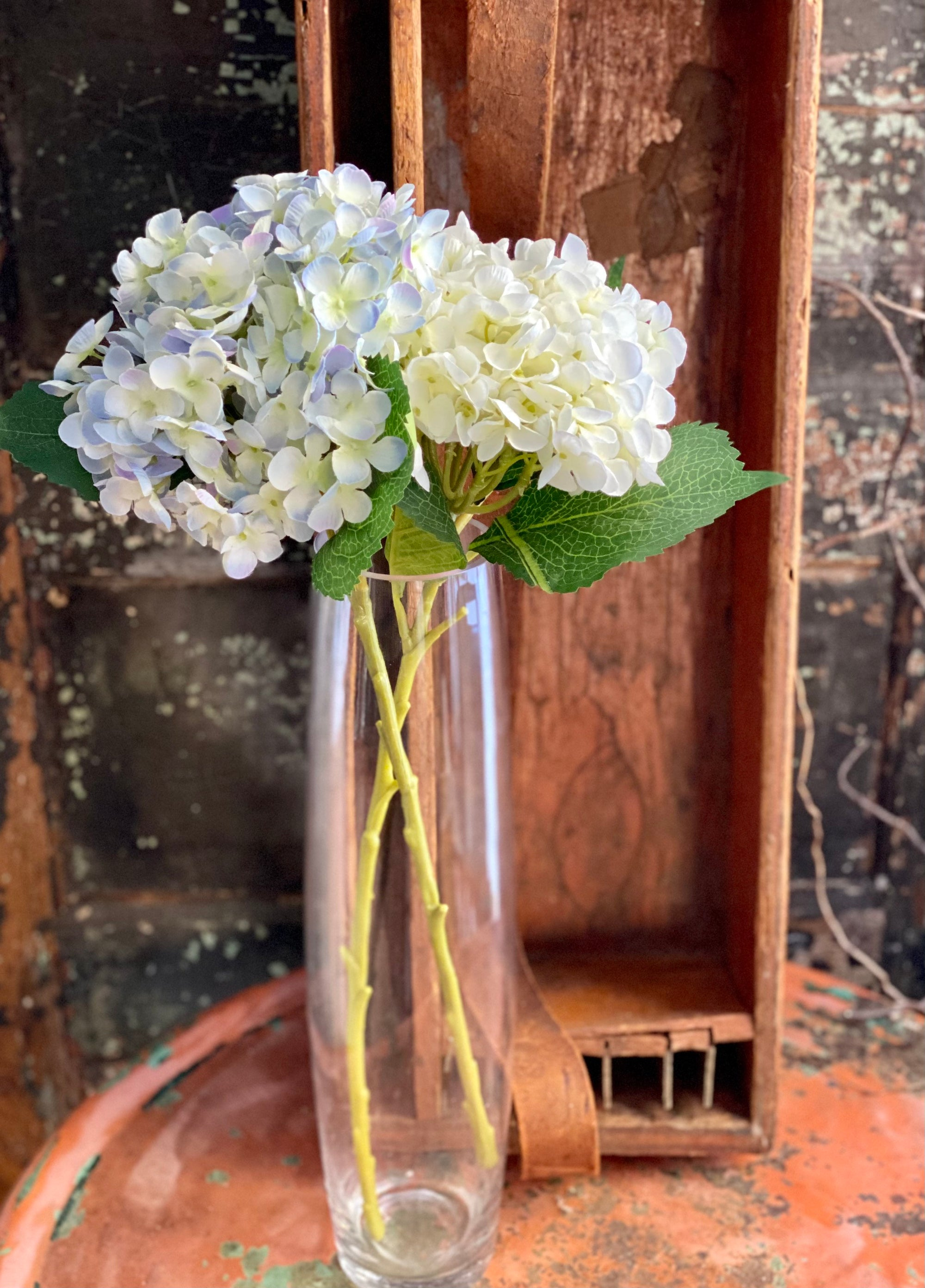 Artificial Large Hydrangea Stem, White or blue hydrangea, Silk flower stem, floral craft supply, wedding flower, wreath making supply