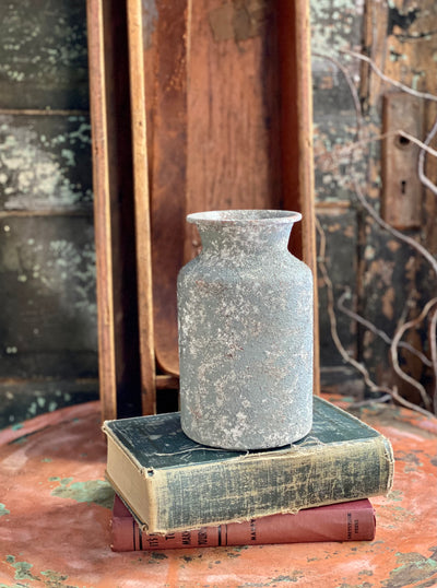 Distressed Grey Textured Metal Urn, metal container for florals, shabby chic vase for table, farmhouse metal urn